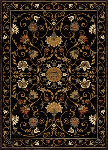 (Mod-Arte | Crown Collection | Area Rug | Contemporary & Traditional Style | Black Floral | 7'8