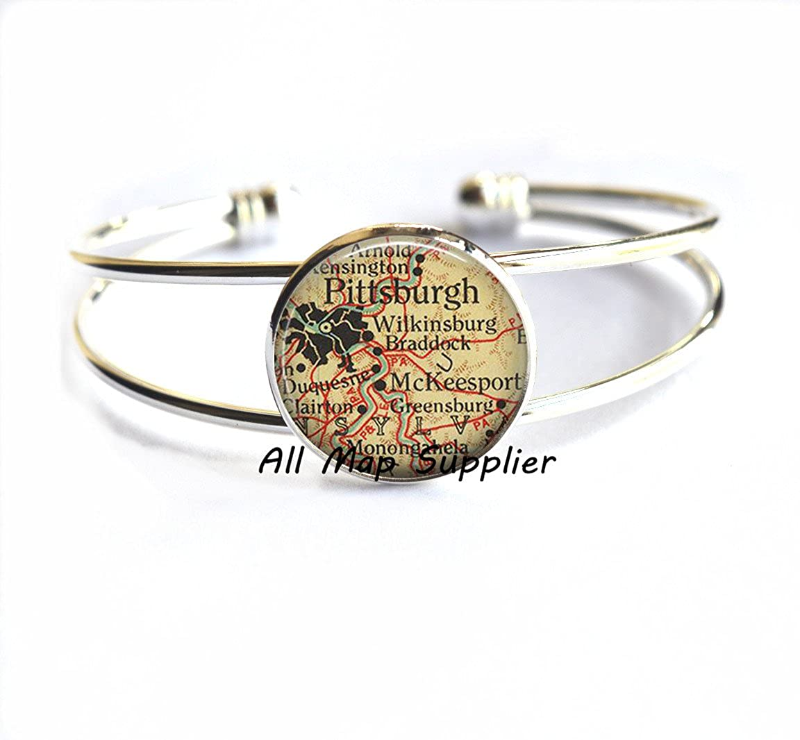 Camden map Bracelets Pittsburgh Bracelets,A0094 Charming Bracelet Pittsburgh map Bracelets Pittsburgh Bracelet map jewelry