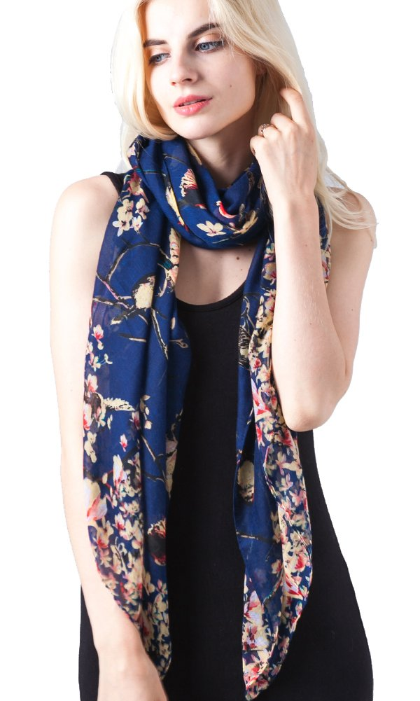 Women's Floral Birds Print Long Scarf Shawl and Wrap by MissShorthair BCF201607-3NY