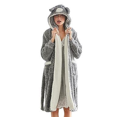 70f440107a63e GWELL Femme Peignoir Polaire Long Hiver Chaud Pyjama Robe à Capuche  Vêtements de Nuit Animal Gris