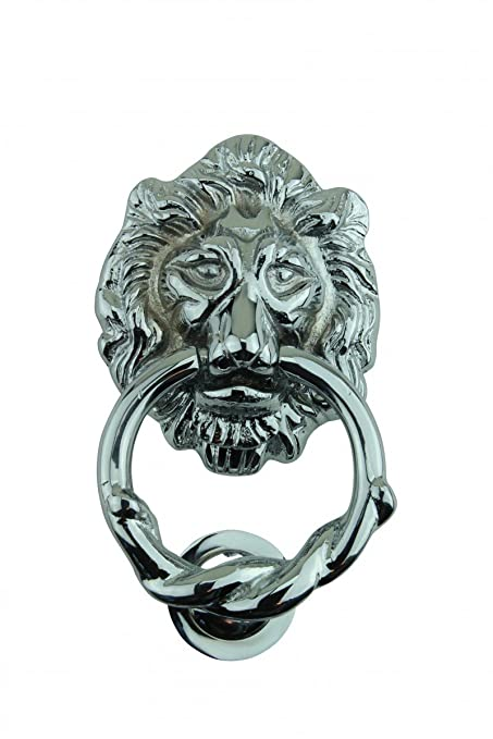 Lion Head Door Knocker Chrome Cast Brass 6 1/4 Inches High X 3 5