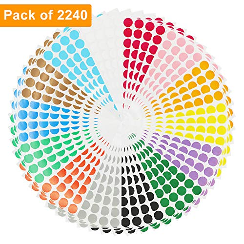 Color Coding Labels 2240pcs 3/4'' Round Self-Adhesive Removable Circle Dot Stickers 14 Bright Neon Colors (56 Sheets-2240pcs)