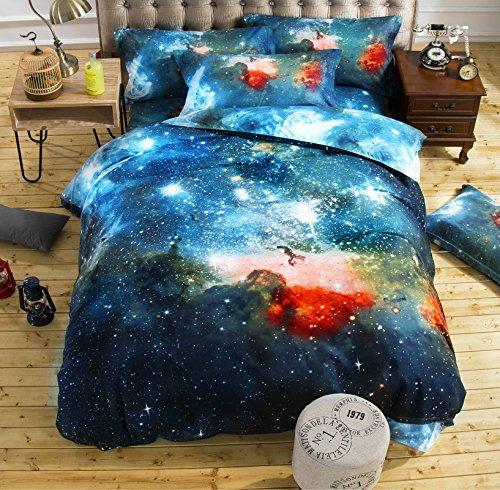 AMZ Twin Size Oil Print 3d Bedding Set Duvet Cover Pillow Cases Green Series Galaxy Series (Twin) -