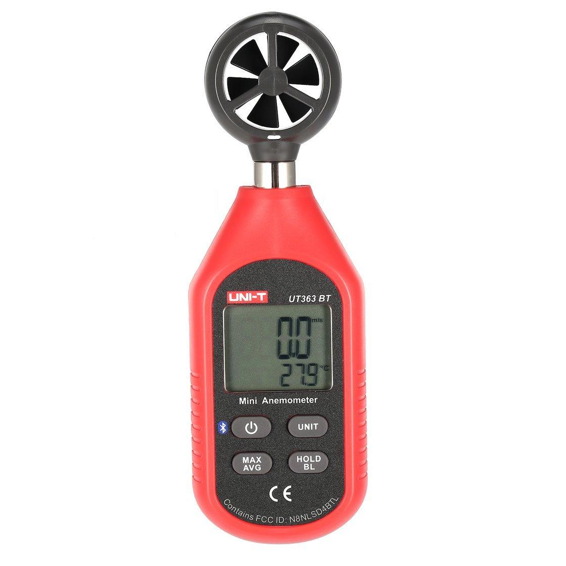 Gwendoll UNI-T UT363BT Bluetooth Mini Numérique LCD Anémomètre De Poche de Poche Taille Vent Air Vitesse Température Testeur Thermomètre