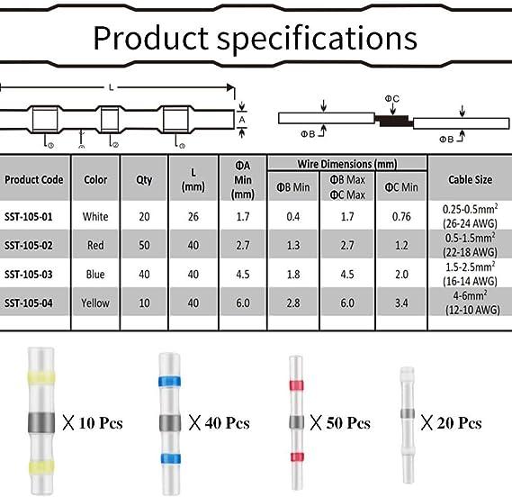 120 pezzi assortimento di 4 diverse misure Ueznirn connettori per cavi impermeabili Set di connettori per saldatura