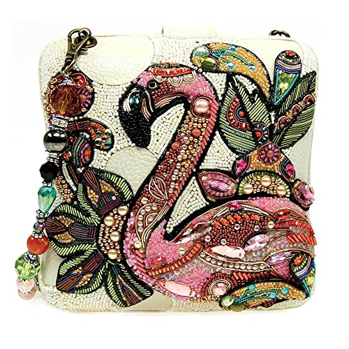 (Mary Frances Pink Flamingo Bird Hand Beaded Crystal Jeweled Clutch Handbag Shoulder Bag)
