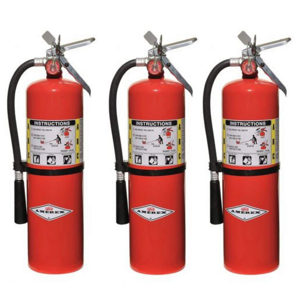 Amerex 10 Pound Stored Pressure ABC Dry Chemical 4A:80B:C Steel Multi-Purpose Fire Extinguisher For Class A, B And C Fires With Anodized Aluminum Valve, Wall Bracket, Hose And Nozzle (3 Pack) by Amerex (Image #1)