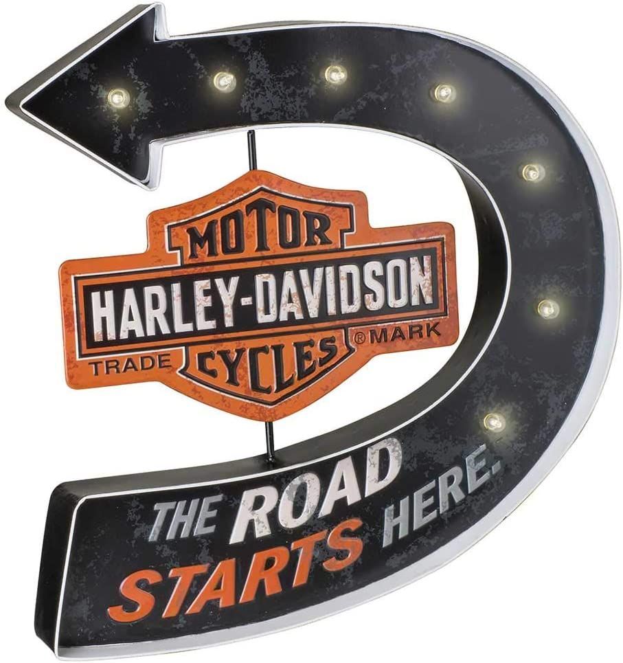 Harley-Davidson Road Starts Here Bar & Shield Marquee Metal Pub Sign HDL-15519
