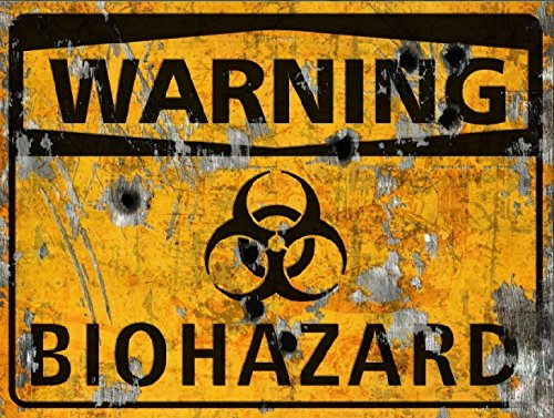 Warning Biohazard Sign - Halloween Decor Prop Road and Lawn Decoration Sticker -