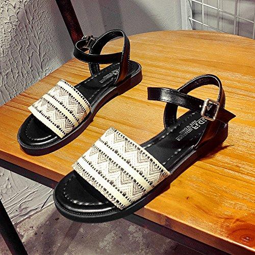 RUGAI-UE Las estudiantes mujeres simples sandalias planas zapatos zapatos antideslizantes Brown