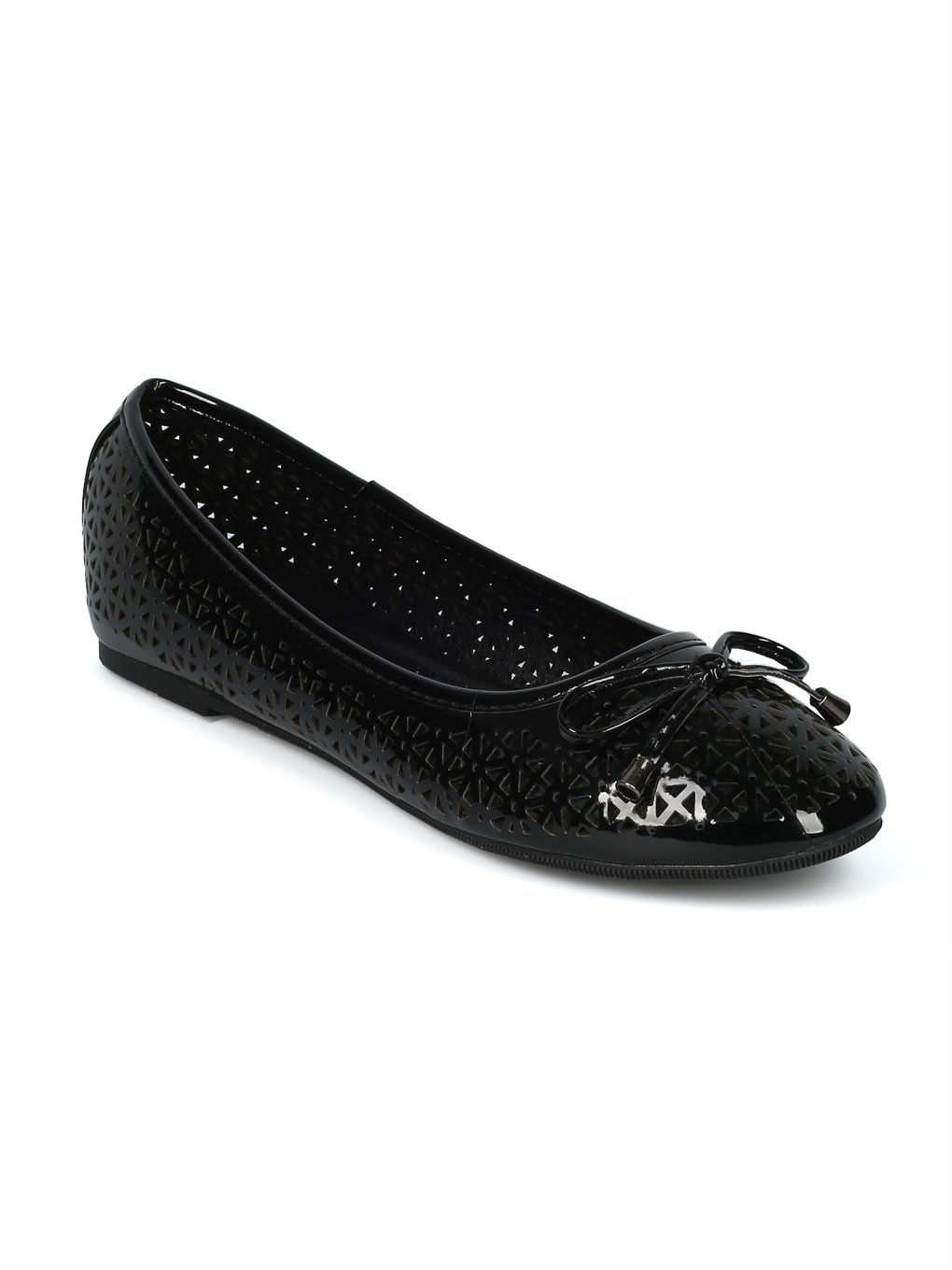 Alrisco Women Round Toe Bow Tie Perforated Ballet Flat HH88 B07D472KJ5 8.5 B(M) US|Black Patent