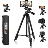 Tripod, 55 Inch Camera Tripod with Universal Smartphone Holder, Lightweight Aluminum Travel Tripod with Carry Bag…