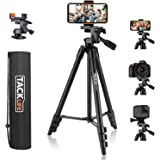 Tripod, 55 Inch Camera Tripod with Universal Smartphone Holder, Lightweight Aluminum Travel Tripod with Carry Bag, Maximum Lo