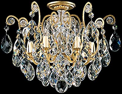 Schonbek 3784-26 Swarovski Lighting Renaissance Flush Mount Lighting Fixture, French Gold