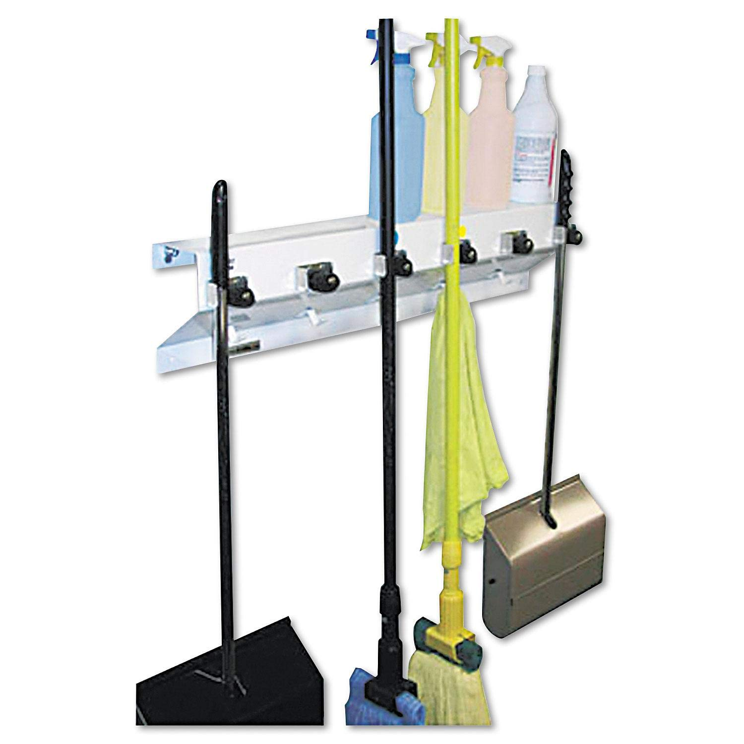The Clincher Mop & Broom Holder, 34''w x 5 1/2''d x 7 1/2''h, White Gloss, Each, Sold as 1 Each by excell