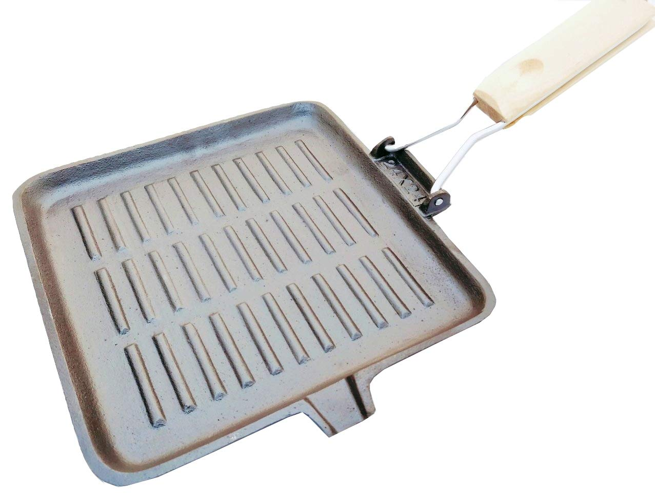 eKitchen Cast Iron Pre-Seasoned Square Grill Pan with
