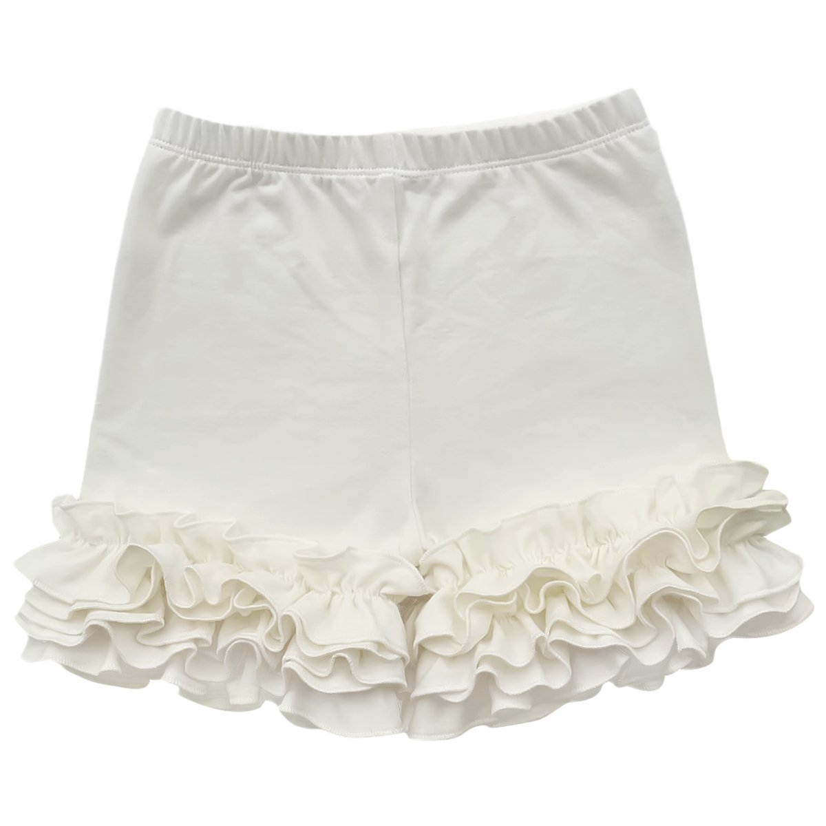 IBTOM CASTLE Baby Girls Double Icing Ruffle Cotton Shorts Bottoms Boutique Pants Off White 2-3T