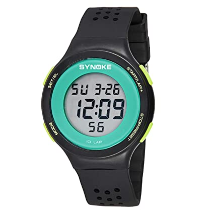 Shiduoli LED Ultrafino natación a Prueba de Agua Reloj Digital poroso Transpirable Moda (Color :