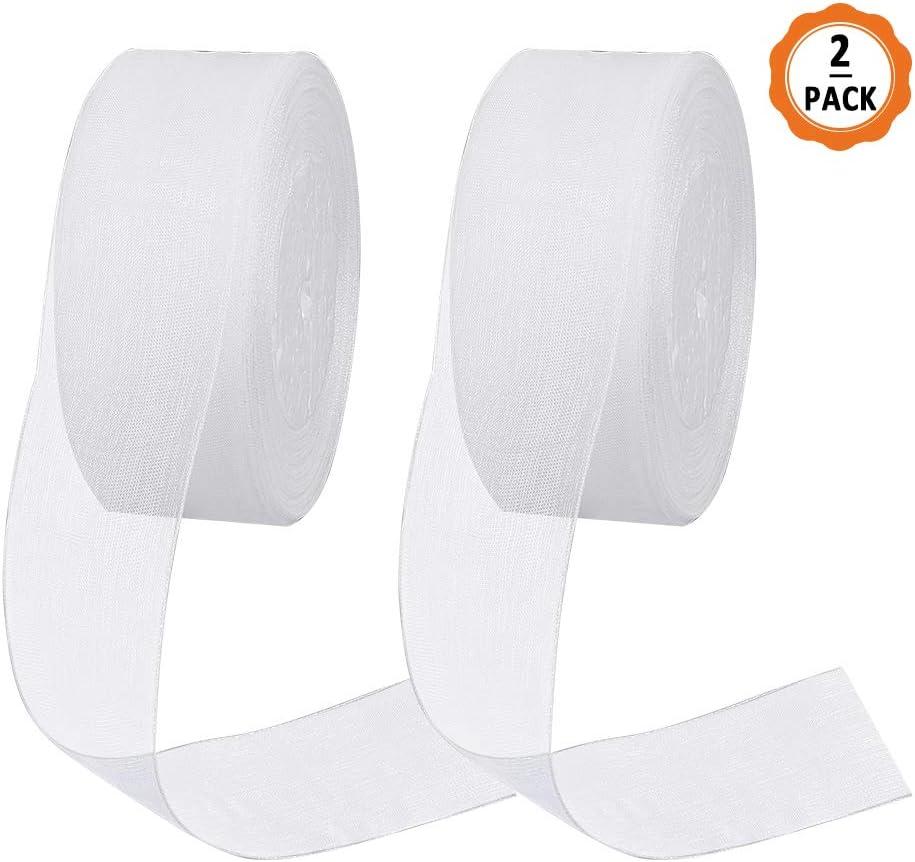 2 Rollos Cinta de Organza Transparente Brillante Blanca de 40mm x ...
