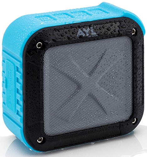 Portable Outdoor and Shower Bluetooth 4.1 Speaker by AYL SoundFit, Water Resistant, Wireless with 10 Hour Rechargeable Battery Life, Powerful Audio Driver, Pairs with All Bluetooth Device (Ocean Blue) by AYL