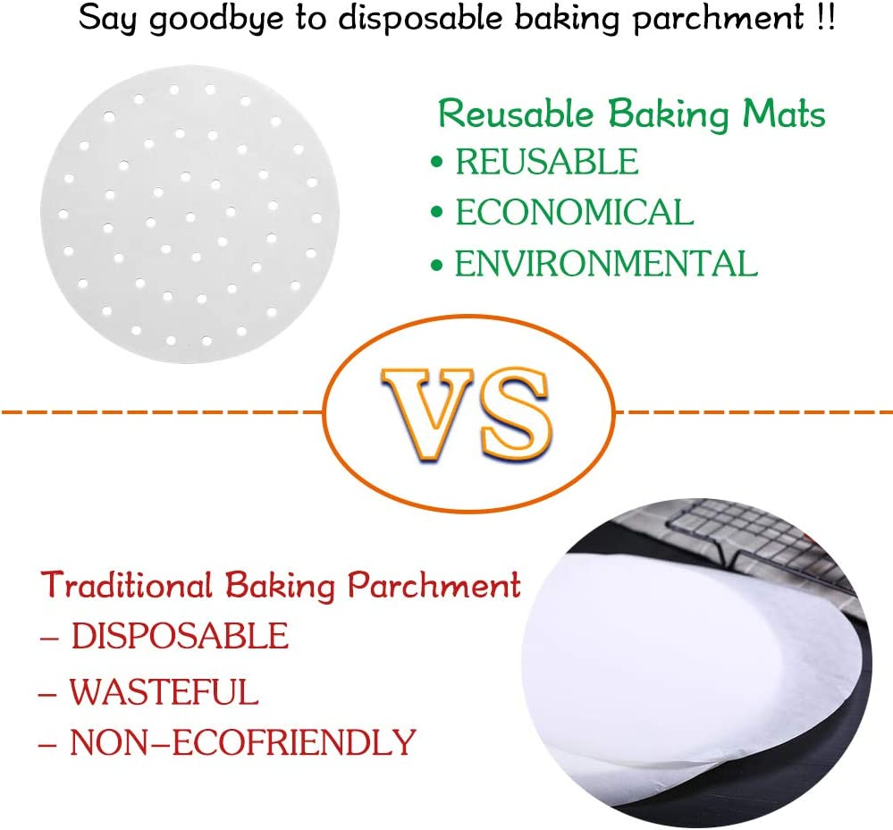 Reusable Air Fryer Liners Nonstick 8 Inch Air Fryer Liners Mat//Air Fryer Perforated Mat//Bamboo Steamer Liners for Air Fryer Steaming Basket and More