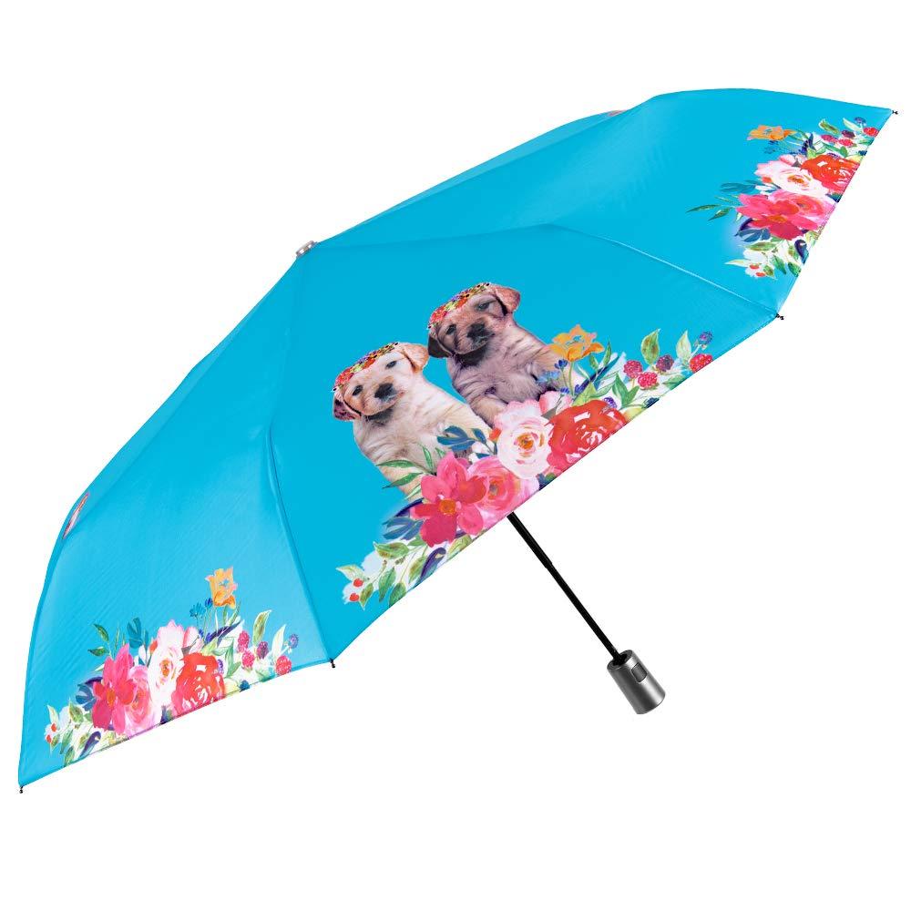 Diametro 96 cm Perletti Resistente Antiviento Varillas de Fibra de Vidrio PFC Free Automatico Compacto Portatil Mini de Viaje Azul Claro Paraguas Plegable Mujer Azul Brillante Perros y Flores