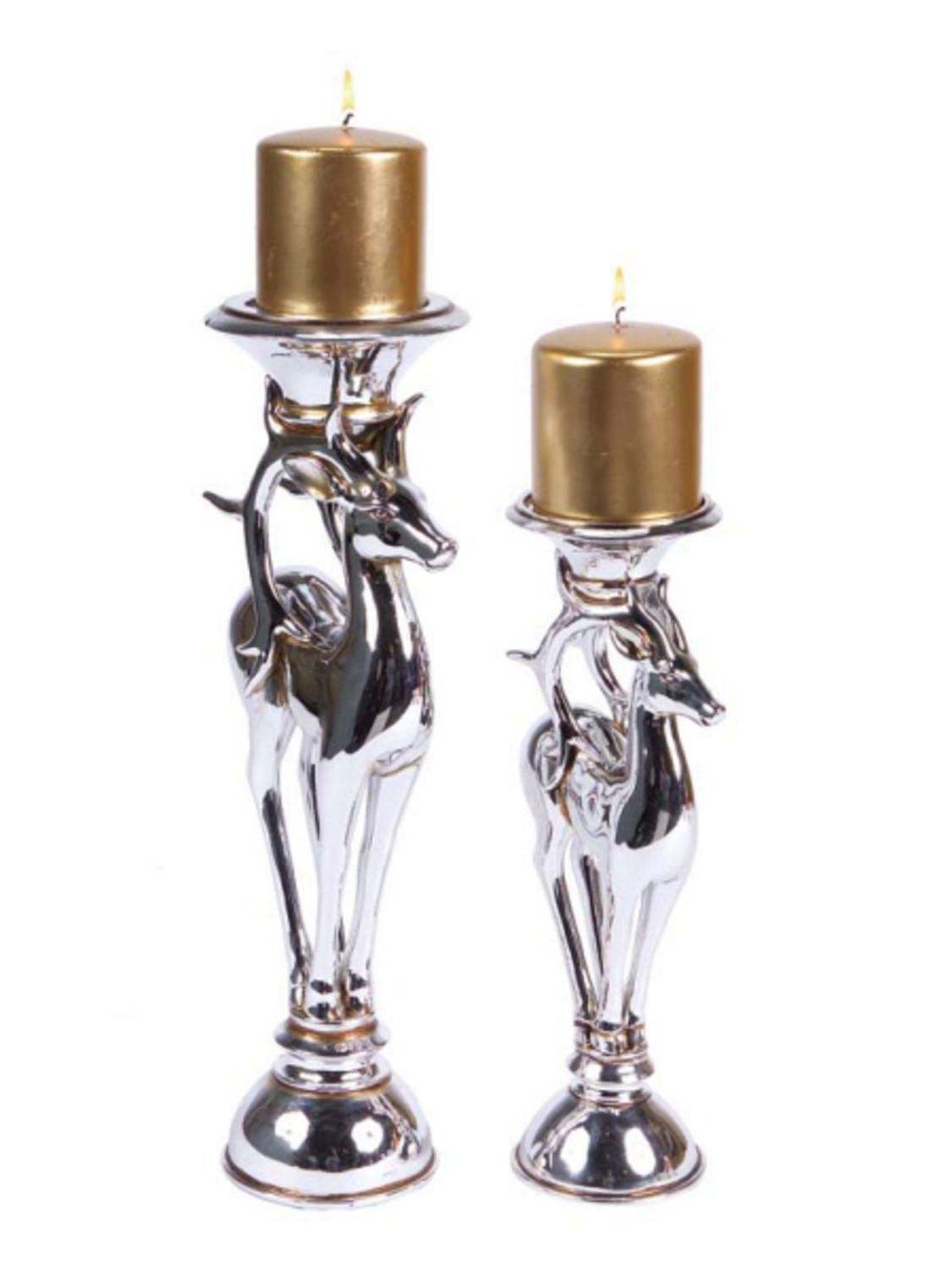 Porcelain Silver Reindeer Christmas Pillar Candle Holders Set of 2 #christmascandle| ChristmasTablescapeDecor.com