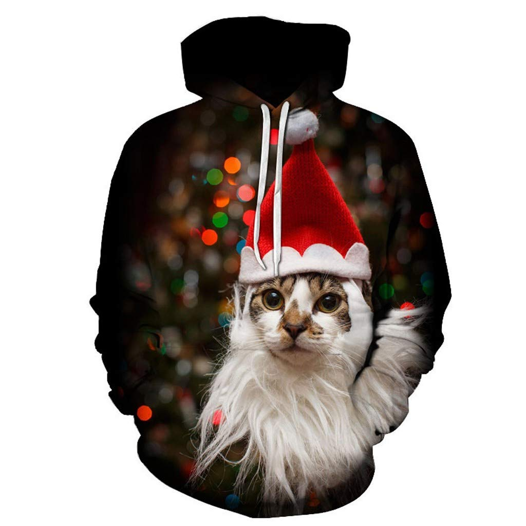 Tomcia Christmas Hoodie Sweatshirt Xmas Sweetest Kitty Print Long Sleeve Casual Sport Loose Party Daily Tops (XXXXL, Red) by gsb-FFuxk