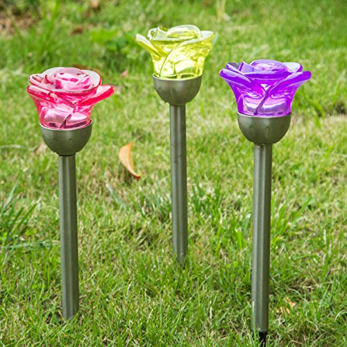 A Ting 3 Assorted Metal and Plastic Solar Garden Path Light,Rose (Purple Plastic Flower)