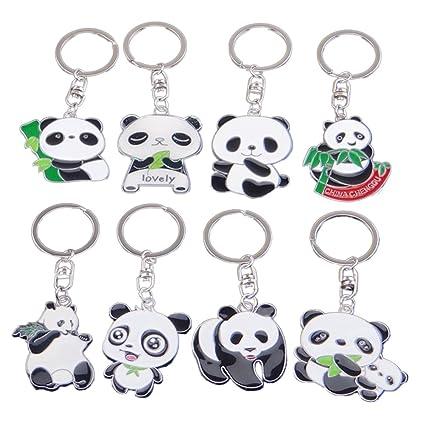 Amazon.com : TOYMYTOY Set of 8 Cute Panda Key Chain Cartoon ...
