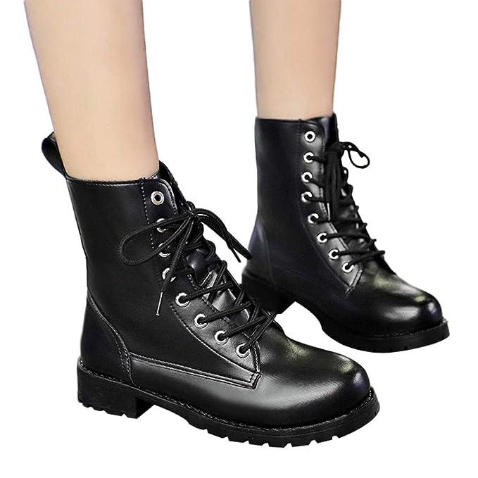 ❤ Botas de Mujer de Invierno Lace Up, Zapatos de Cuero de Punta Redonda de Mujer Botines Planos otoño Invierno Boots Zapatos de Ocio Absolute: Amazon.es: ...
