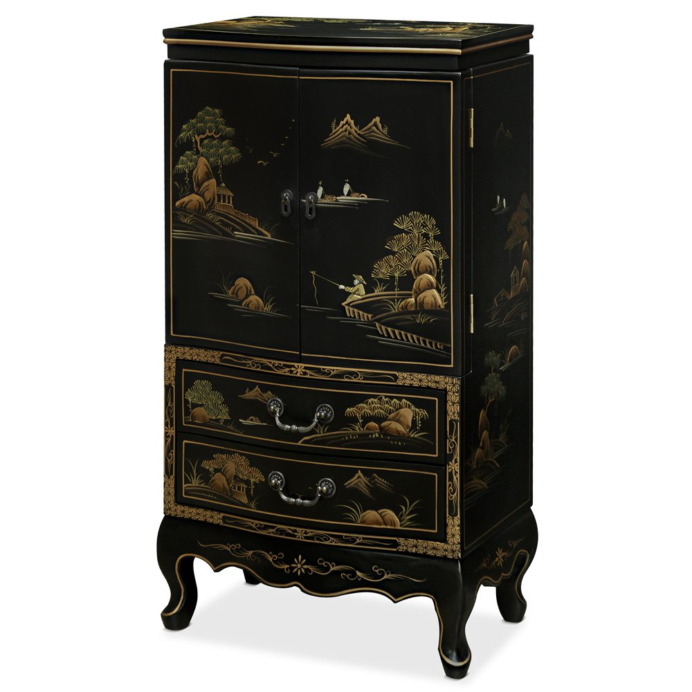 China Furniture Online Jewelry Armoire Lingerie Chest with Chinoiserie Motif on Black by ChinaFurnitureOnline