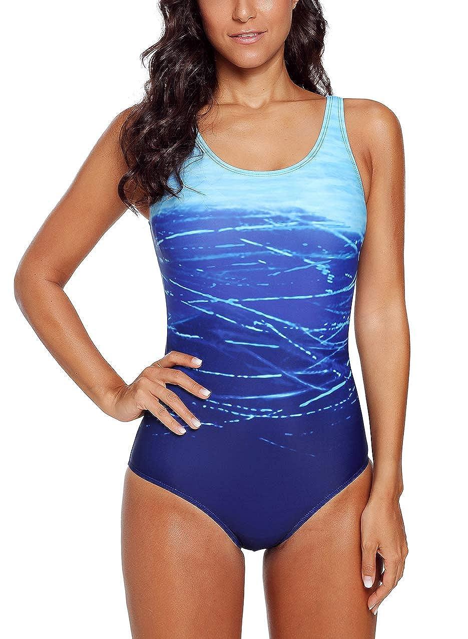f980aa9636 Amazon.com: Actloe Women Ombre Criss Cross Back Athletic One Piece Swimsuit  Summer Swimwear: Clothing