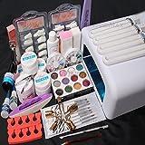26in1 Nail Art Tips UV Builder Gel Brush 36W Timer Dryer Lamp Decorations Kit