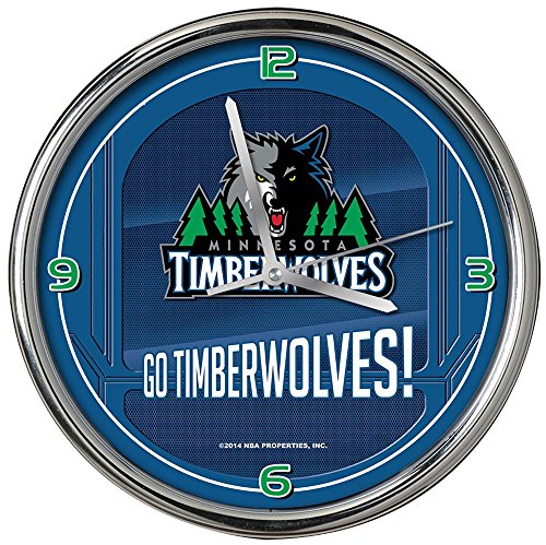 (NBA Minnesota Timberwolves Go Team! Chrome Clock, One Size, Multicolor)