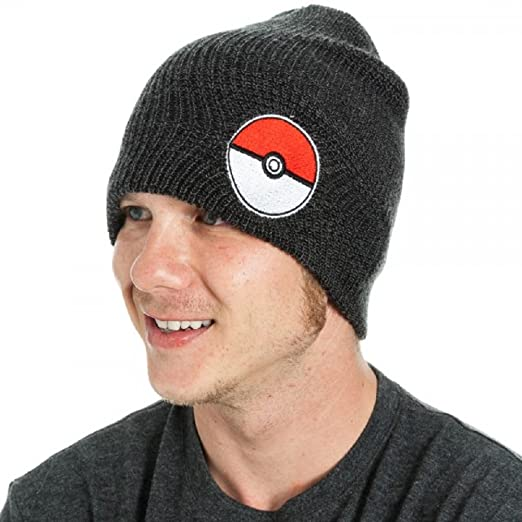 Amazon.com  Pokemon Poke Ball Black Slouch Beanie   Clothing fe564e124d91