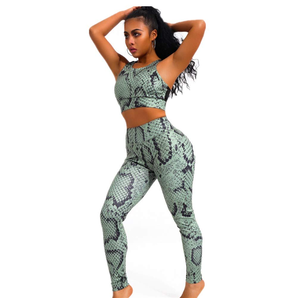 Yoga Two Piece Outfits for Women,Green Snake Print Women's Sport Gym Clothes Set (S)