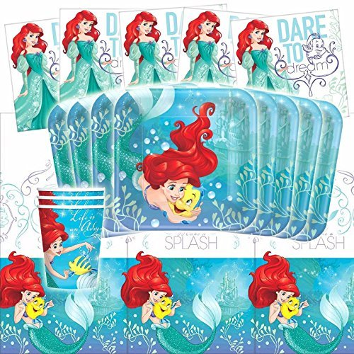 Disney Ariel Dream Big Little Mermaid Birthday Party Tableware Pack Kit For 16 (Little Mermaid Decorations)