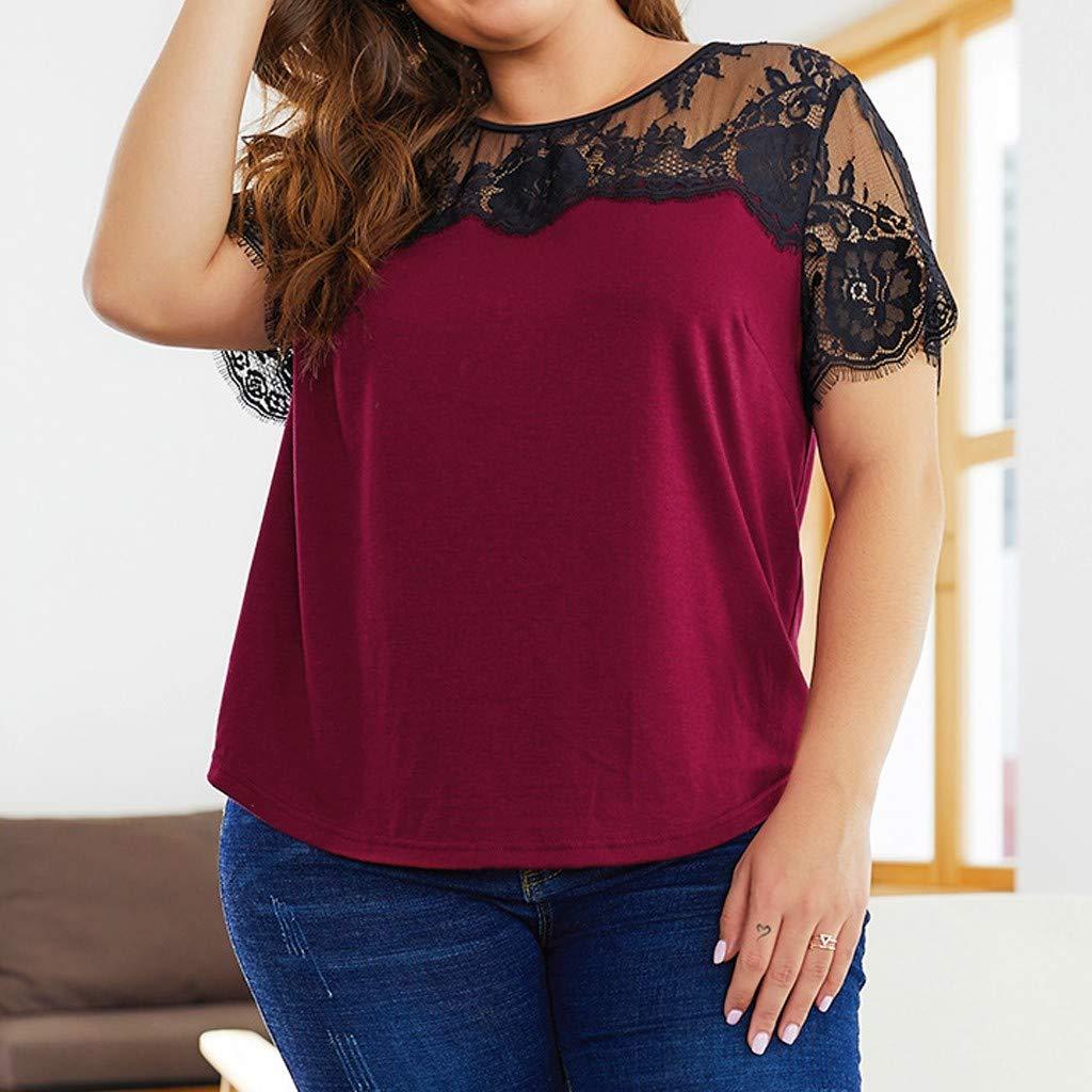 Camisa Camiseta Chaleco AIMEE7 Ropa Mujer Camiseta roja Casual de Encaje Tallas Grandes de Manga Corta Cuello Redondo Blusa de Moda Casual de Primavera y Verano Top para Mujer