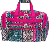 Womens 16'' Duffel Carry-On Travel Bag (Bohemian w/Pink Trim)
