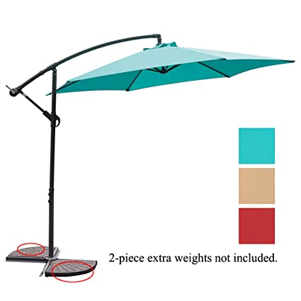 NatureFun 10ft Offset Patio Umbrella Outdoor Turquoise
