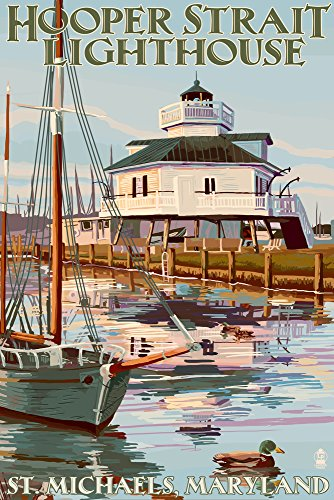 St. Michaels, Maryland - Hooper Strait Lighthouse (Colorized) (12x18 SIGNED Print Master Art Print w/ Certificate of Authenticity - Wall Decor Travel Poster) -