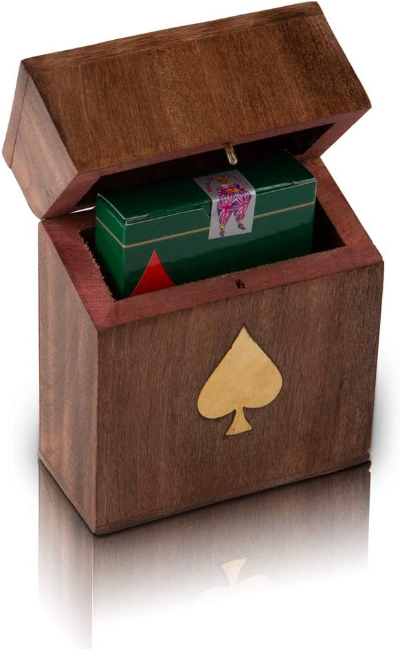 Beautiful Handcrafted Classic Wooden Playing Card Holder Deck Box Storage Case Organizer With Premium Quality 'Ace' Playing Cards Birthday Anniversary Housewarming Ideas For Him Her