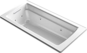KOHLER K-1949-0 Archer ExoCrylic 66-Inch x 32-Inch Drop-In Whirlpool Bath with Reversible Drain, White