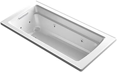 KOHLER K-1949-0 Archer ExoCrylic 66-Inch x 32-Inch Drop-In Whirlpool Bath with Reversible Drain, White