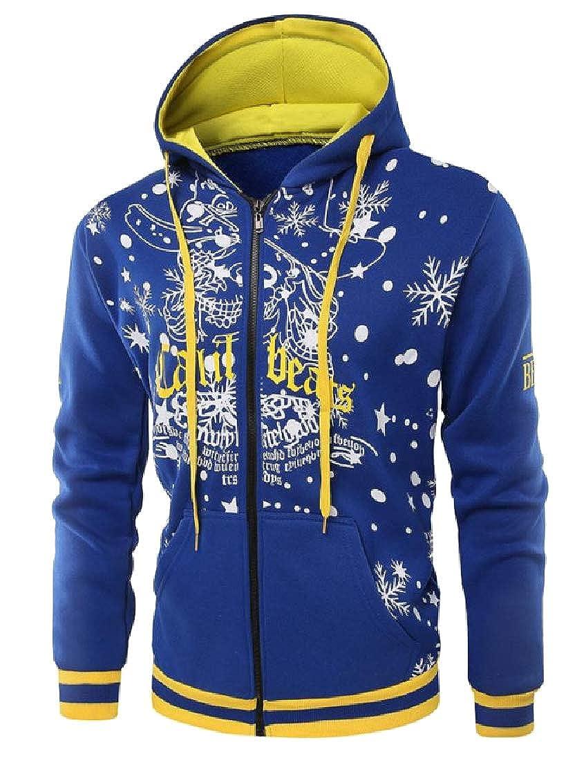 YUNY Men Classic Fit Christmas Festival Long Sleeve Sweatshirts Blue M