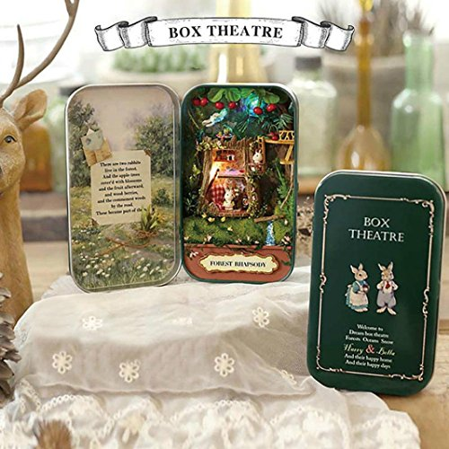 Box Theatre, Lotus.flower DIY Hand Assembled Dollhouse Handcraft Miniature Box 3D Puzzle Creative Gift Collection Educational Toy (Forest Rhapsody)
