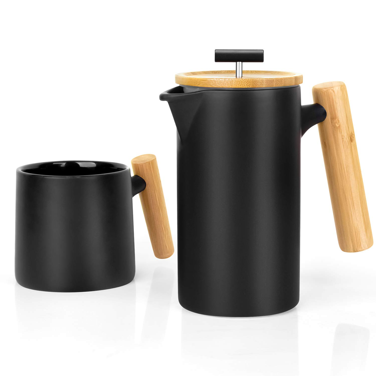 Ceramic French Press Coffee Maker/Coffee Press/Coffee Plunger (24 oz.) |Non-Porous Stoneware | with Coffee Mug (Black)