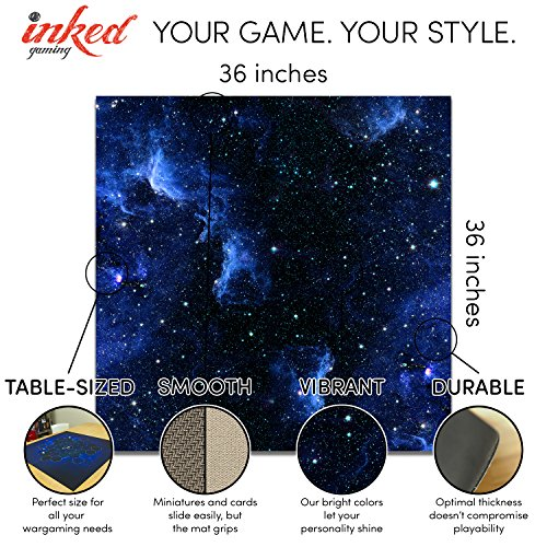Blue Nebula Wargaming Play Mat – 36x36 Inch Table Top Roleplaying and Miniature Battle Game Mat Great for Warhammer 40k Star Wars Minis Warmachine Polyester with Anti-Slip Rubber Backing by Inked Playmats (Image #2)