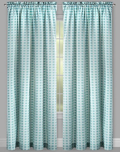 WAVERLY Traditions by Criss Cross 2-Panel Pair Drapery Set Window Curtains, Light Blue, 104